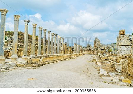 Remains Of Old Anatolian City Of Perge