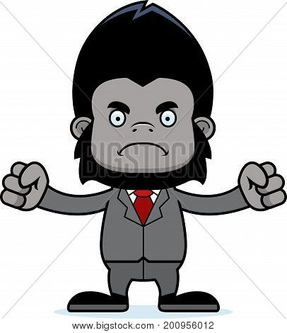Cartoon Angry Businessperson Gorilla