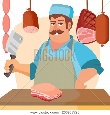 Happy Butcher Vector. Standing Butcher Man With Knife. Natural Meat. For Steak, Meat Market, Storeroom Advertising Concept. Cartoon Isolated Illustration.