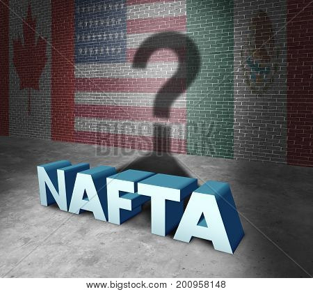 NAFTA or the north american free trade agreement concept as the flags of United States Mexico and Canada as a trade deal negotiation question fot the American Mexican and Canadian governments as a 3D illustration.