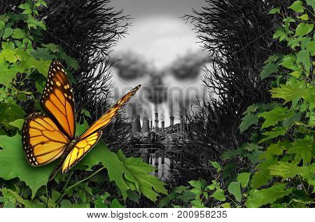 Environmental destruction and ecological natural habitat contamination as a butterfly looking at a polluted industrial area with coal chimneys and nuclear plants with toxic garbage with 3D illustration elements.