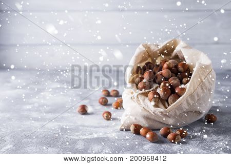 Hazelnuts in a bag on the gray background