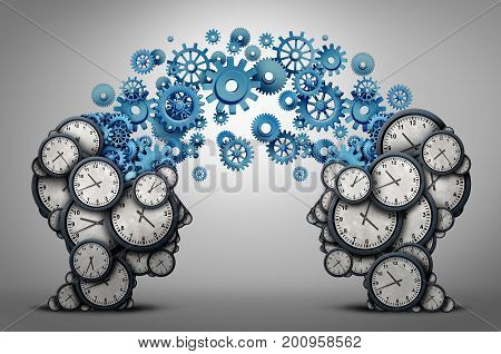 Business time planning partnership as two people heads made of clock cog and gear objects linked together as an organizing a meeting and schedule symbol as a 3D illustration.