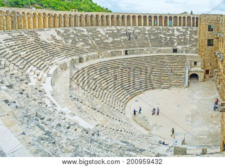 The Scene And Galleries Of Aspendos Amphitheater