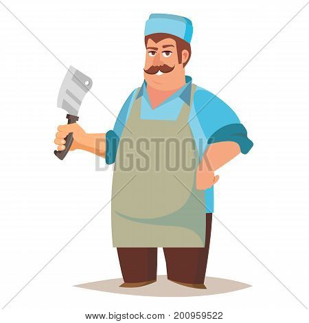 Professional Butcher Vector. Classic Butcher Man With Knife. Eco Farm Organic Market. For Storeroom Advertising. Cartoon Isolated Illustration.
