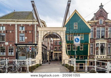 Alkmaar, The Netherlands - April 22, 2016: Traditional Dutch Bridge In Alkmaar, The Netherlands