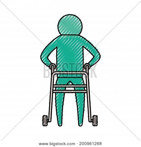 color crayon silhouette pictogram elderly man in assistance walker vector illustration