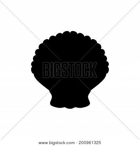 Clam mollusc black silhouette aquatic animal. Vector Illustrator.