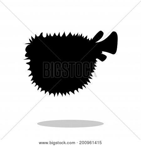 Seaurchin fish black silhouette aquatic animal. Vector Illustrator.