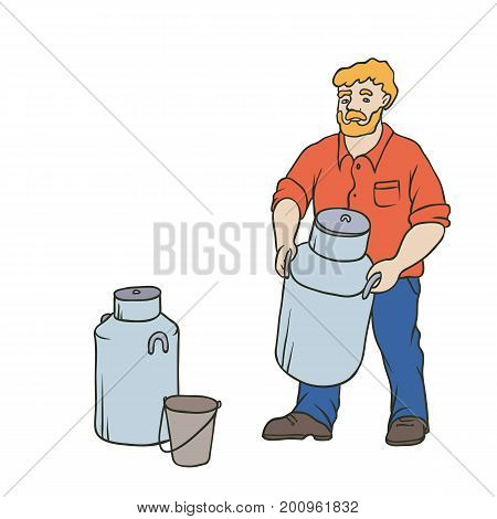 Vector sketch coloured isolated illustration of farmer. Red bearded village man in working clothes on a ranch with a large can of milk in his hands. Capacity and bucket for milk yield