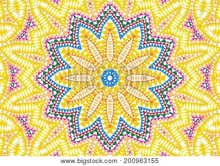 Background with abstract floral bright colorful concentric pattern