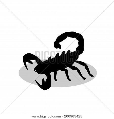Scorpion sting black silhouette animal. Vector Illustrator.