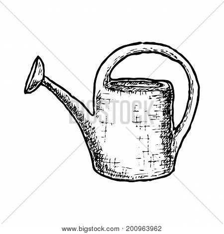 Garden tool and farming instrument - watering can. Farming equipment. Vector