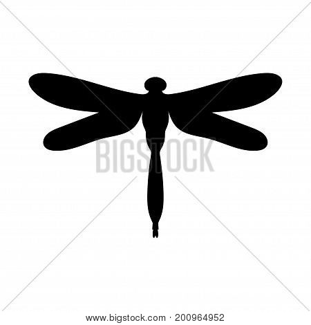 Dragonfly insect black silhouette animal. Vector Illustrator.