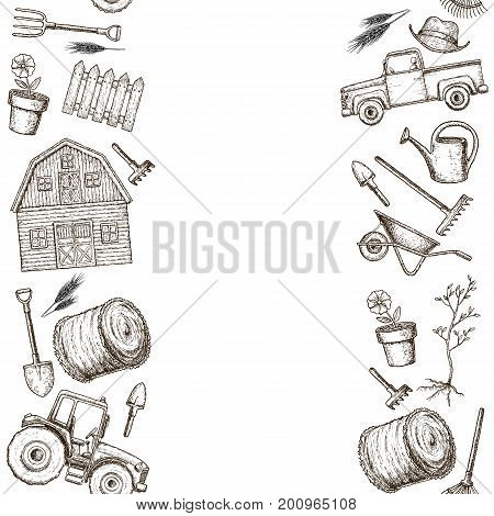 Seamless vertical borders of colorful farming equipment icons. Farming tools and agricultural machines decoration. Vector