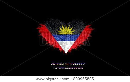 The Heart of Antigua and Barbuda Flag abstract background.