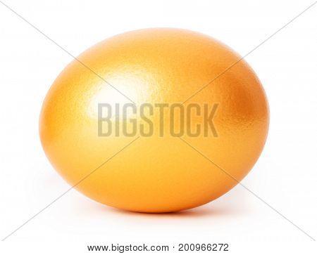 Golden egg close-up isolated on white background