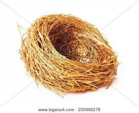 Empty gold nest isolated on white background