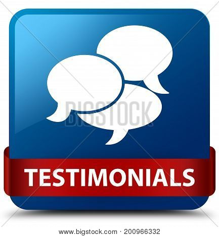 Testimonials (comments Icon) Blue Square Button Red Ribbon In Middle