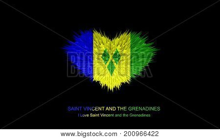The Heart of Saint Vincent and the Grenadines Flag abstract background.