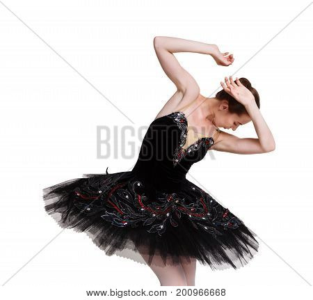 Scared ballerina in black swan dress against white background, isolated. Professional dancer in tutu skirt afraid of something. Violence concept