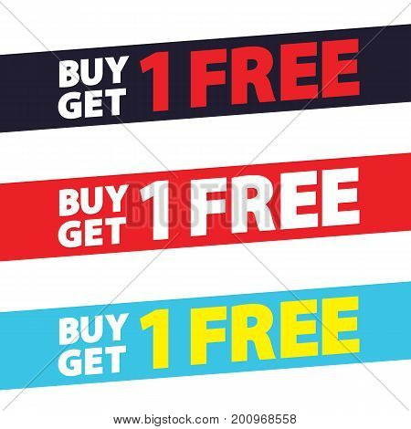 Buy Get 1 Free Tag Design For Banner Or Poster. Sale And Discounts Concept. Vector Illustration.