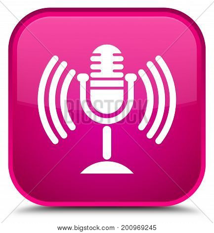 Mic Icon Special Pink Square Button