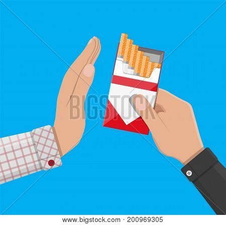 Tobacco abuse concept. Hand gives box of cigarette to other hand. No smoking. Rejection, proposal smoke. Vector illustration in flat style.