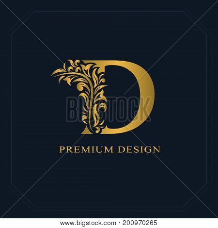Gold Elegant Letter D. Graceful Style. Calligraphic Beautiful Logo. Vintage Drawn Emblem For Book De
