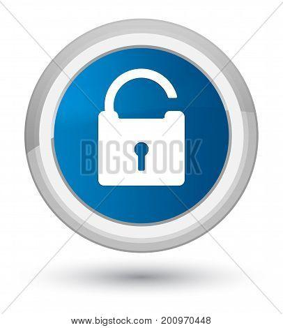Unlock Icon Prime Blue Round Button