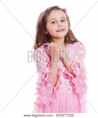 Happy Girl eight years old isolated on white