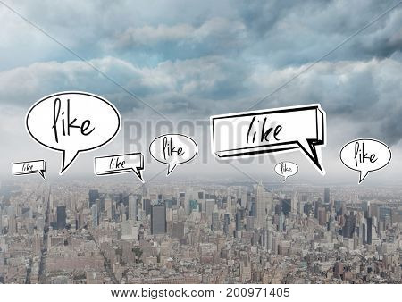 Digital composite of Like speech bubbles over city