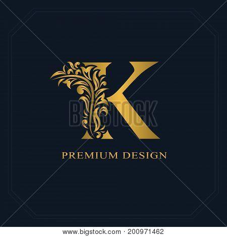 Gold Elegant Letter K. Graceful Style. Calligraphic Beautiful Logo. Vintage Drawn Emblem For Book De