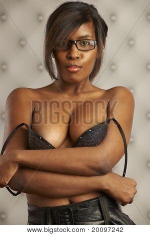 Beautiful Model Peeling Off Bra