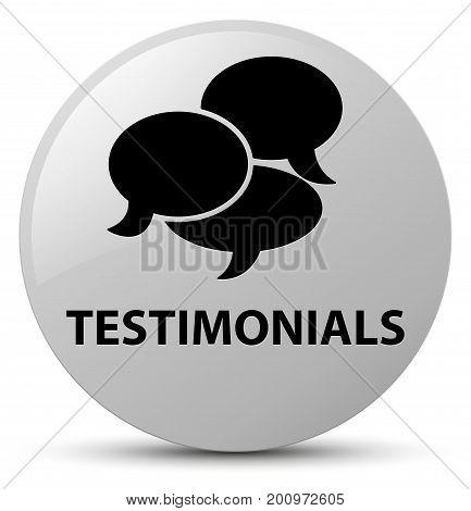 Testimonials (comments Icon) White Round Button