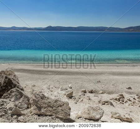 View from Lake Salda, a crater lake in southwestern Turkey