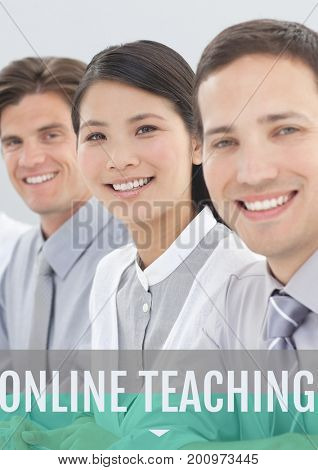 Digital composite of Education and online teaching text and people smiling