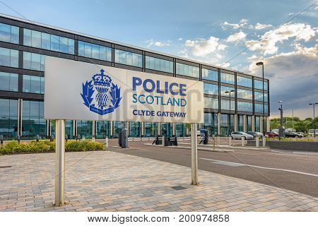 GLASGOW SCOTLAND - AUGUST 08 2017: The Police Scotland Clyde Gateway building at Dalmarnock Glasgow. The building was completed in 2015 at a cost of £24 million pounds.