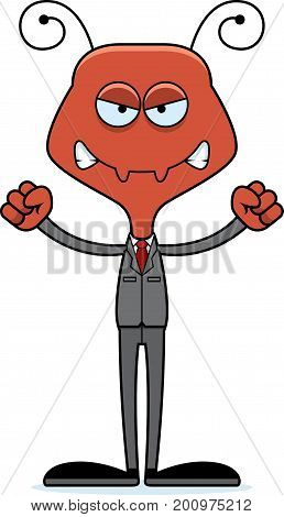 Cartoon Angry Businessperson Ant