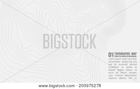 Topographic map background with space for copy . Line topography map contour background , geographic grid abstract vector illustration . Mountain trail over terrain . poster