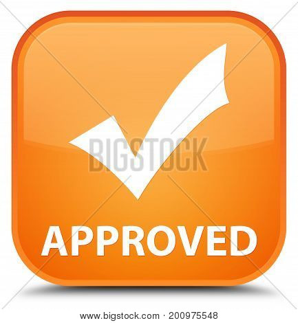 Approved (validate Icon) Special Orange Square Button