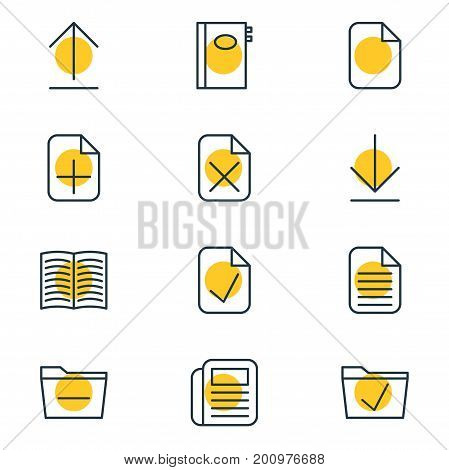 Editable Pack Of Downloading, Journal, Done And Other Elements.  Vector Illustration Of 12 Bureau Icons.