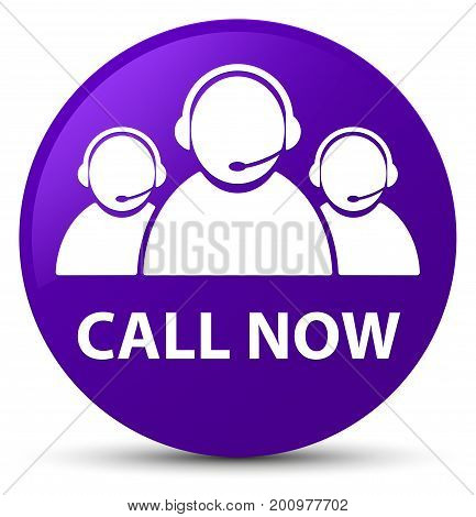Call Now (customer Care Team Icon) Purple Round Button