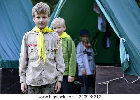 August 10 2017; Drahnovice in Czech republicCzech boy and girl scouts during their summer camp. Czech scouts usually stay in tents for 2 or 3 weeks. August 10 2017; Drahnovice in Czech republic