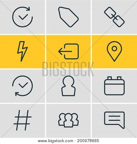 Editable Pack Of Past, Note, Group And Other Elements.  Vector Illustration Of 12 App Icons.