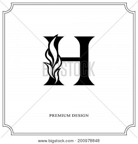 Elegant Letter H Graceful Royal Style Calligraphic Beautiful Logo Vintage Drawn Emblem For