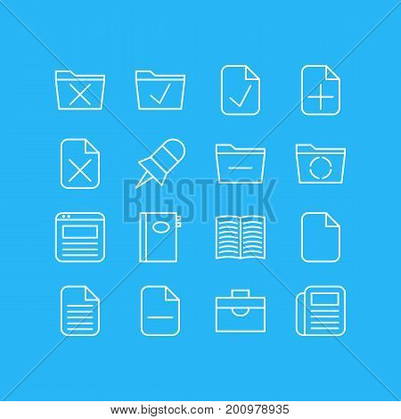 Editable Pack Of Plus, Delete, Blank And Other Elements.  Vector Illustration Of 16 Office Icons.