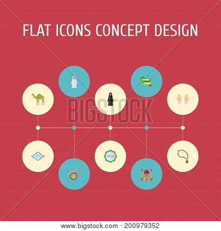 Flat Icons Minaret, Artillery, Decorative And Other Vector Elements