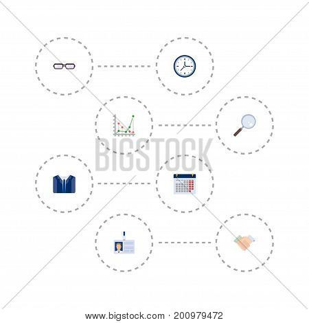 Set Of Business Flat Icons Symbols Also Includes Loupe, Clock, Chart Objects.  Flat Icons Handshake, Costume, Clock Vector Elements.