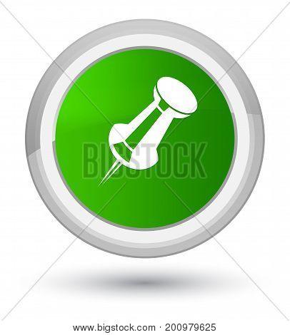 Push Pin Icon Prime Green Round Button